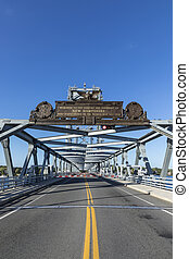 The Memorial Bridge  over the Piscataqua River, in Portsmouth, which connects New Hampshire to Maine, USA