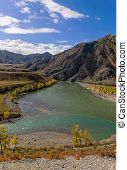 two rivers - the merger of two rivers, Altai, Russia