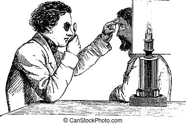 The merits of the eye, the image reversed, using a simple hand ophthalmoscope, vintage engraving.