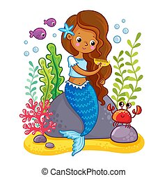The mermaid sits on a rock and combs.