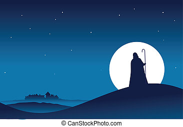 The Messenger - Guy in hooded cloak with a stick walking to ...