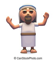The messiah Jesus Christ cheering with joy, 3d illustration...