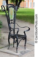 Garden chair in the garden