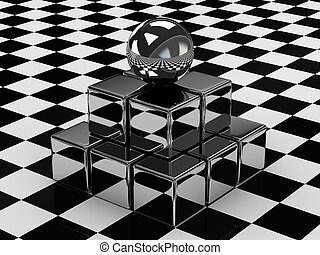 The metallic ball and cubes