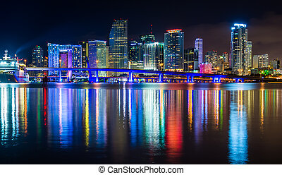 The Miami Skyline at night, seen from Watson Island, Miami, Flor