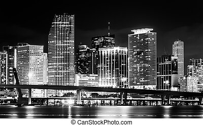 The Miami Skyline at night, seen from Watson Island, Miami, Florida.