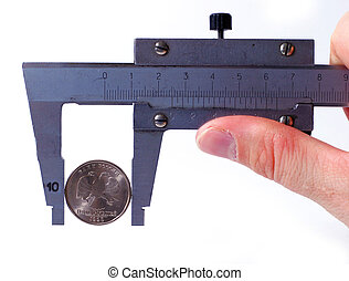 The micrometer measures Rubles a coin. The concept of accuracy and quality.