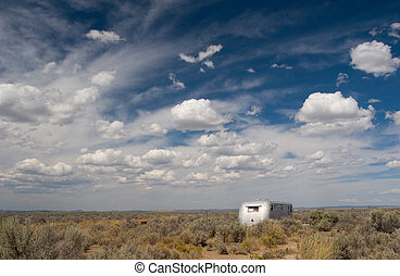 The Middle of Nowhere - Photo of a vandalized trailer out in...