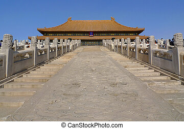The middle staircase to the Hall of Supreme Harmony in the Forbidden City, Beijing, China. The stairway has a huge stone engraving with dragons playing with pearls.
