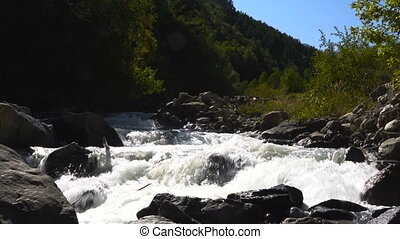 The mighty swift mountain river with cascades flows through the valley