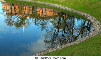The Mikhailovsky castle in St. Petersburg. The reflection in the water.