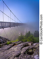 The Mile-High Swinging Bridge in fog, at Grandfather Mountain, N