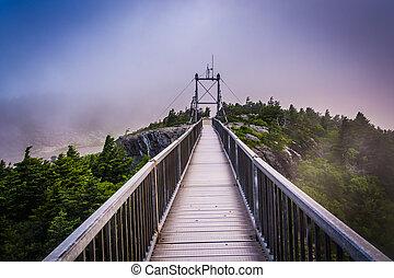 The Mile-High Swinging Bridge in fog, at Grandfather Mountain, N