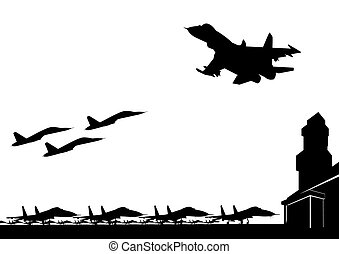 Night Landscape. Military aircraft on the airfield. Black and white illustration.