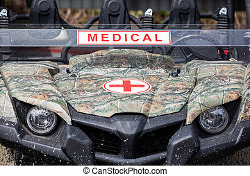 The military ambulance. Close up front view. - The military ...