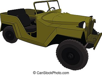 military car jeep vector drawing illustration