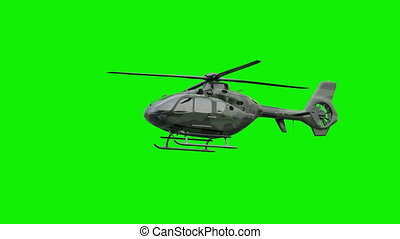 The military helicopter on green