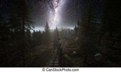The milky way above the railway and forest