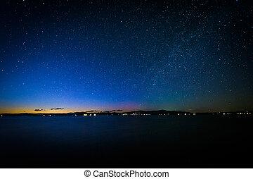 The Milky Way over Lake Winnipesaukee at night, at Ellacoya ...