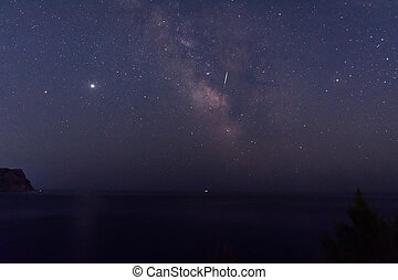 The milky way over the sea. Beautiful starry sky. Watching shooting stars.