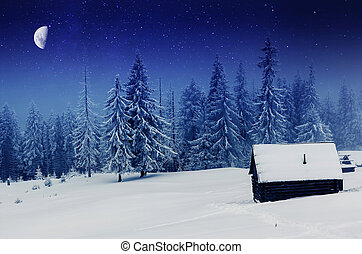 winter - The Milky Way over the winter mountains landscape. ...