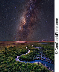 The Milky Way rises over the grass field, Thailand