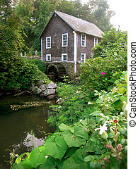 The mill at Stony Brook Creek on Cape Cod in New England - ...