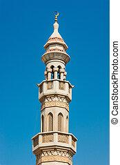 The minaret of a mosque in Dubai