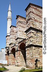 The minaret of Hagia Sophia, Istanbul