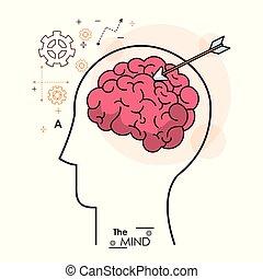 the mind head human brain arrow strategy business vector...