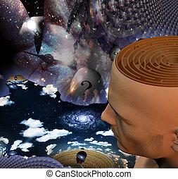 The mind - Mans head reveals maze in strange scene