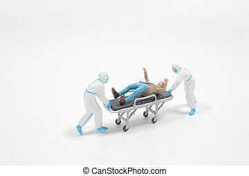 the mini Paramedics moving a patient on a stretcher