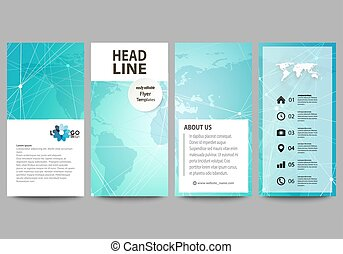 The minimalistic abstract vector illustration of editable layout of four modern vertical banners, flyers design business templates. Chemistry pattern. Molecule structure. Medical, science background.