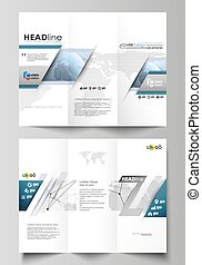 The minimalistic abstract vector illustration of the editable layout of two creative tri-fold brochure covers design business templates. World globe on blue. Global network connections, lines and dots
