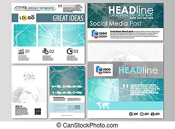 The minimalistic abstract vector illustration of the editable layout of modern social media post design templates in popular formats. Chemistry pattern. Molecule structure. Medical, science background
