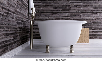 The minimalistic design of the bathroom. 3D Render