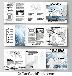 The minimalistic vector illustration of the editable layout. Three creative covers design templates for square brochure or flyer. World globe on blue. Global network connections, lines and dots.