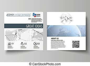 The minimalistic vector illustration of the editable layout of two square format covers design templates for brochure, flyer, booklet. World globe on blue. Global network connections, lines and dots.