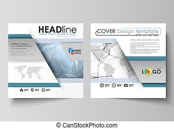 The minimalistic vector illustration of the editable layout of two square format covers design templates for brochure, flyer, magazine. World globe on blue. Global network connections, lines and dots.