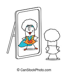 The mirror and funky supergirl - An afro girl looks in the...