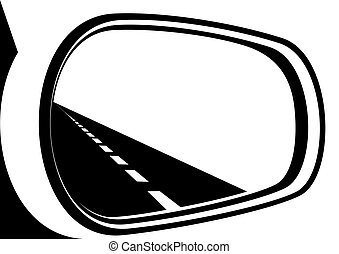 The mirror and the road - The road is reflected in the car...