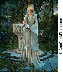 The Mirror - an elven princess with a silver carafe in their...