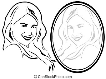 Reflection of a young girl in the mirror. The illustration on a white background.