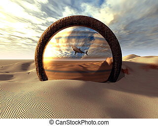 "Strange, surreal fantasy scenery. A shark ""swimming"" in the desert, reflected by a strange mirror/portal."
