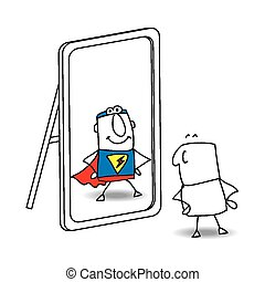 The mirror - Joe looks in the mirror. He sees a superhero in...