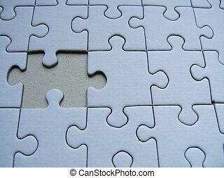 A blue puzzle with a missed piece