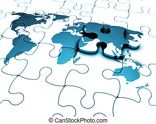 The missing piece - 3D render of a jigsaw of a world map...