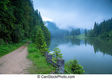 The misty morning at Red Lake, Harghita