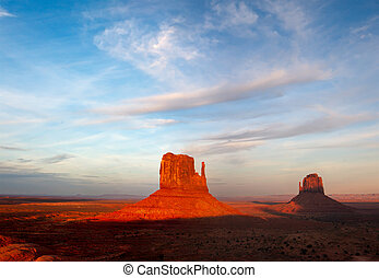 The Mittens Glowing at Sunset in Monument Valley