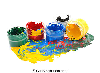 The mixture of colors on a white background